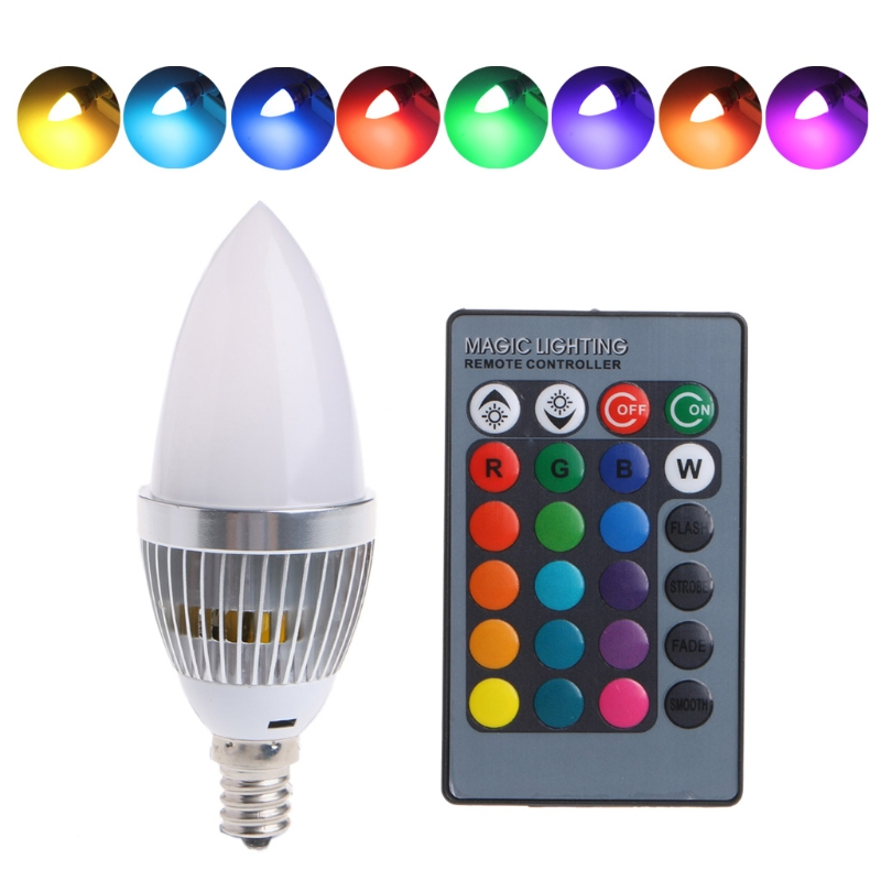 E12 E14 3W RGB LED 15 Colors Changing Candle Light Bulb Lamp Remote Control AC85-265V moon shape remote control changing colors led lamp