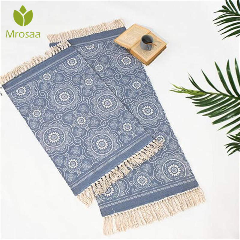 60x130cm Nordic Cotton Woven Carpet Tassels  Bedroom Rug Bedspread Mat  Simple Modern Table Ruuners Kitchen Mat Home Decoration