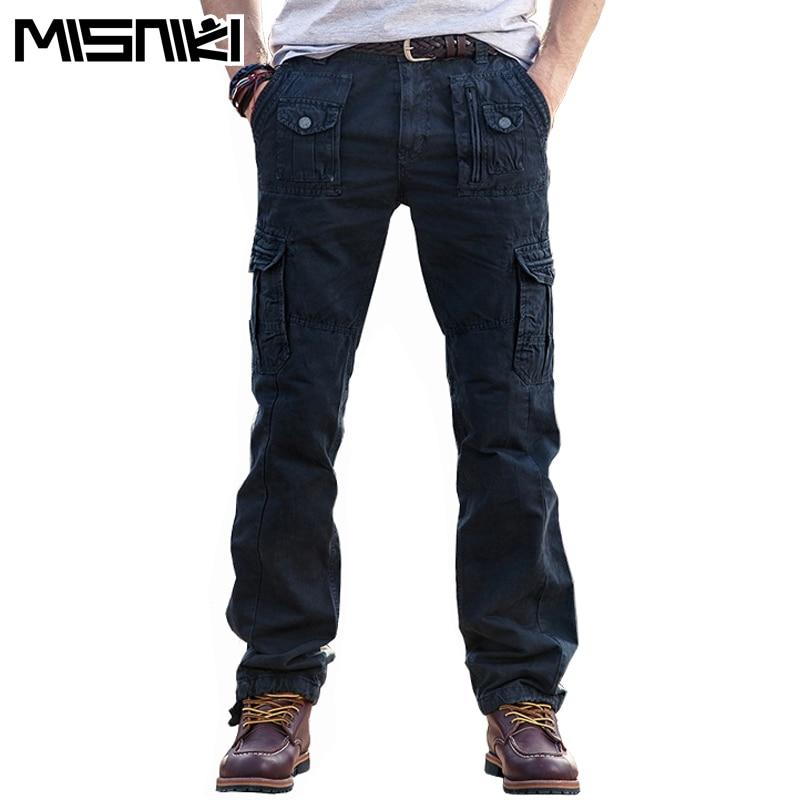 MISNIKI 2019 Spring Autumn Cotton Cargo Pants Men Solid High Quality Tactical Pants Mens Pantalon Homme (Asian Size)