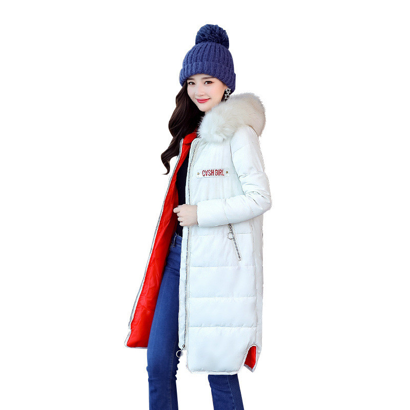 2017 New Winter Women Down Cotton Medium-Long Jacket Parka Female Hooded Fur Collar Thicken Size M-3XL Slim Outerwear ParkaCQ503 winter jackets coats new down cotton jacket women parkas thicken hooded outerwear slim large size medium long female coat k616