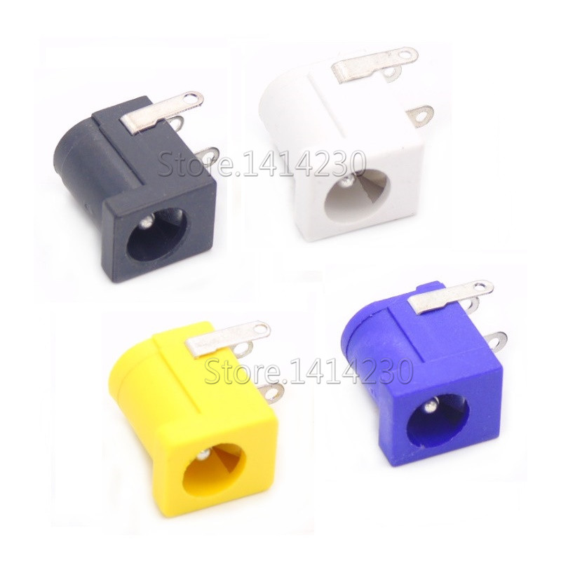 Hot Sales DC-005 Black White Yellow And Purple DC Power Jack Socket Connector DC005 5.5*2.1mm 5.5*2.5 2.1socket Round The Needle