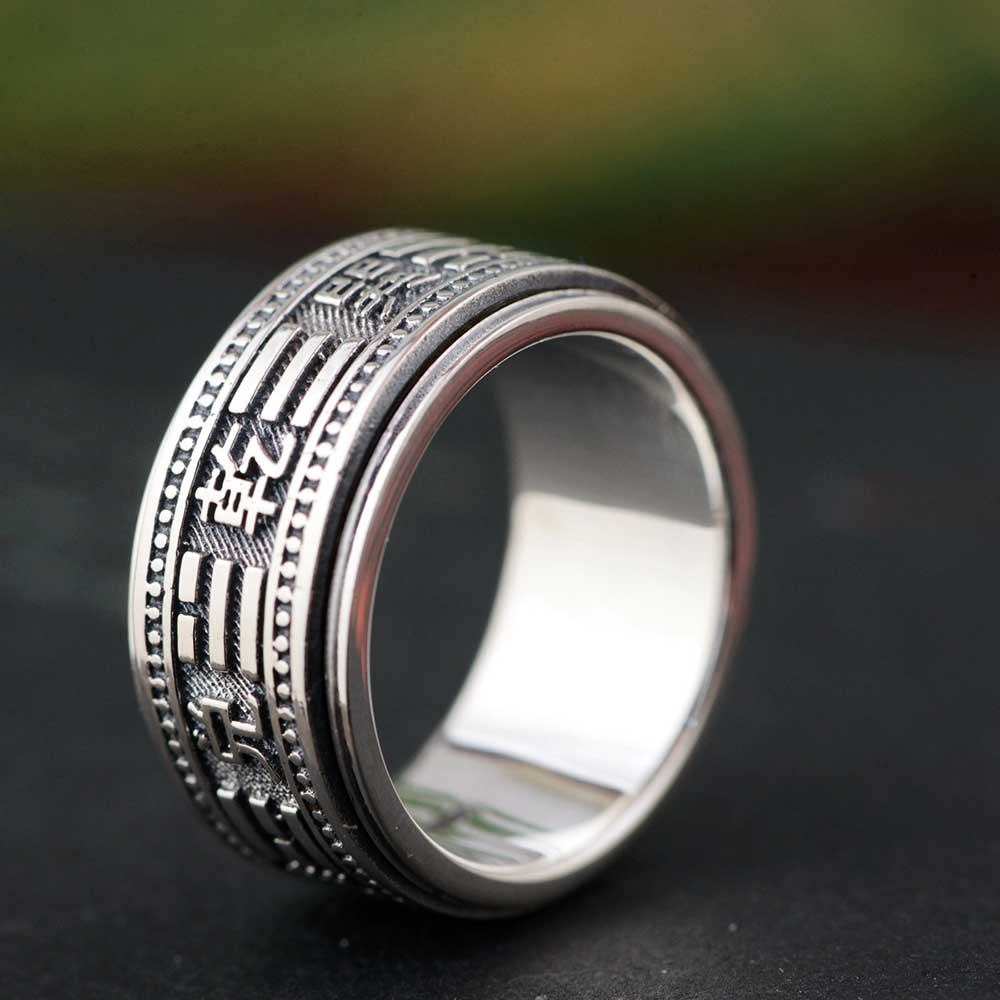 FNJ 925 Silver Good Luck Ring Men New Fashion Zircon S925 Sterling Thai Silver Rings for Women Jewelry USA Size 6-13