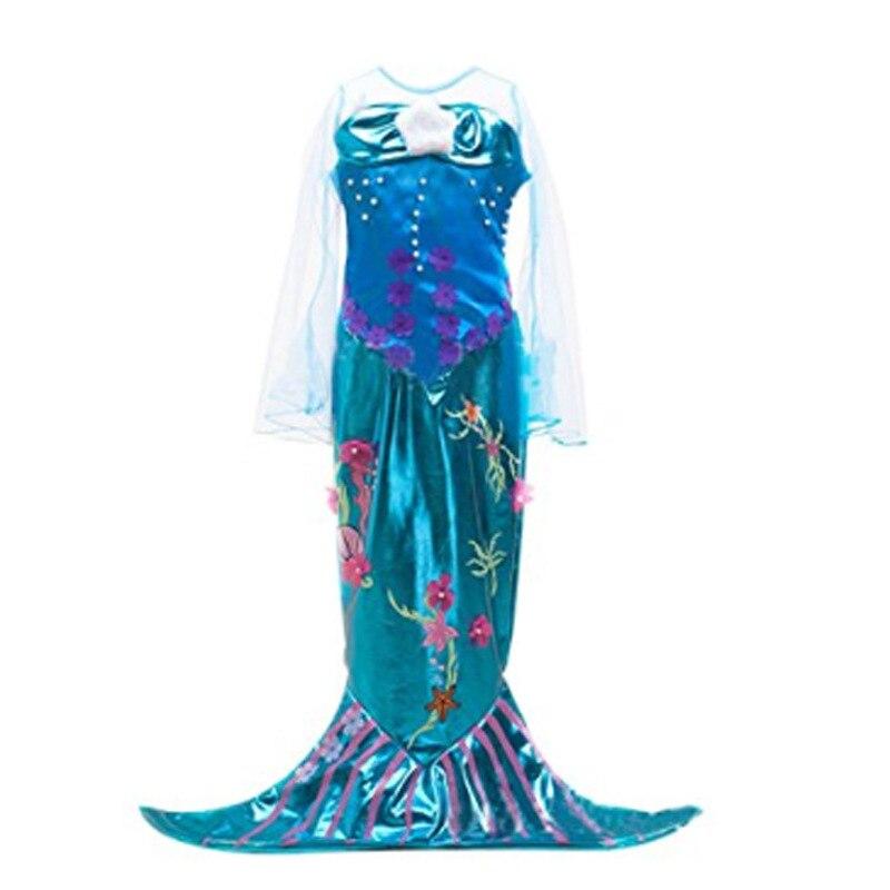 Kids Mermaid Dresses for Girls Long Sleeve Fish Tail Child Princess Dress School Party Costume Halloween Christmas Cosplay