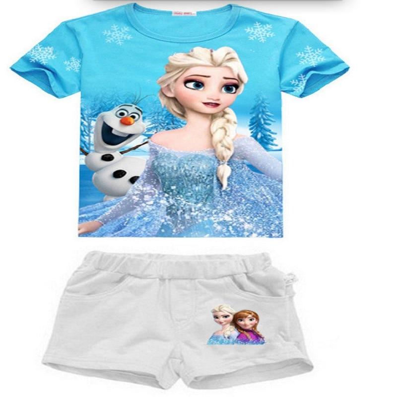 Summer Girls Clothes Set Elsa Anna T-shirts+Shorts Cotton Cartoon Sportswear Children Clothing Sets Kids Girl Outfits New