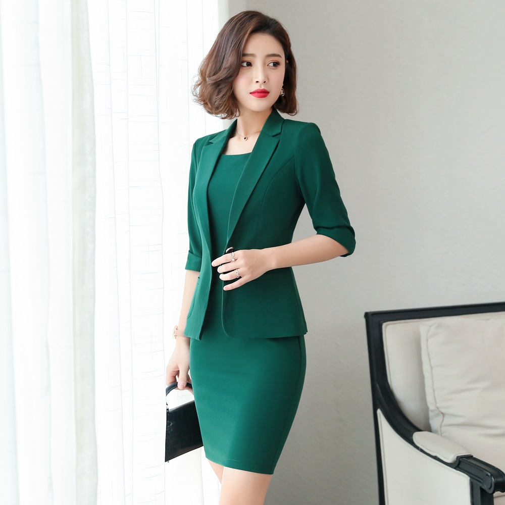 Ladies Wear Dress Suits 3/4 Sleeve Slim Blazer+Sleeveless Dress 2 Piece Set   1