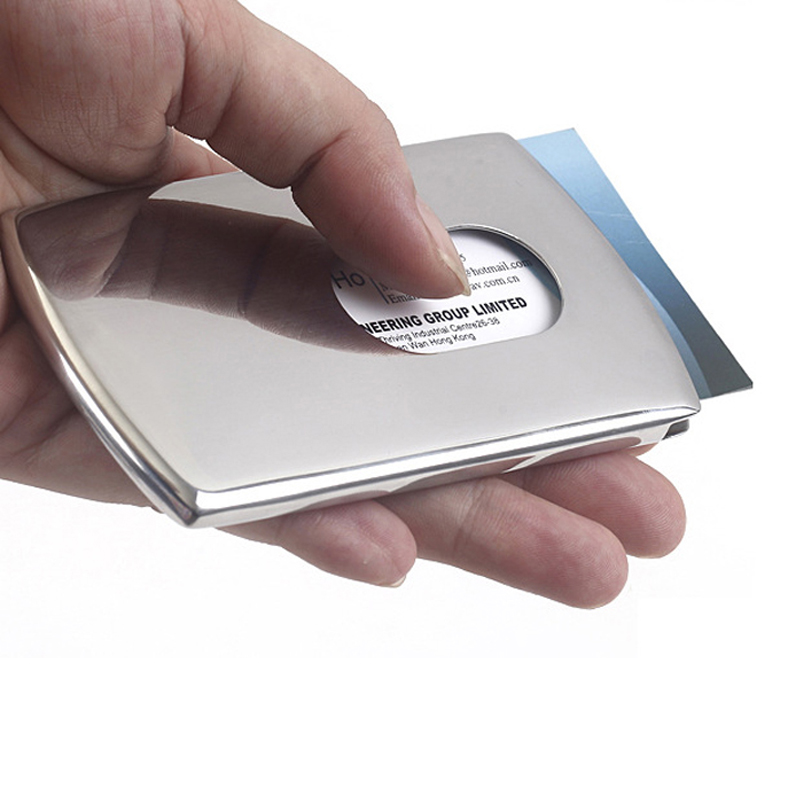 Fashion thumb slide out stainless steel business card holder pocket portable hand push type stainless steel business card holder wallet card case for men reheart Images