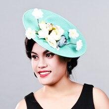 Women Fancy Feather big size beauty Fascinator Headwear Wedding Hats and Fascinators White Net Hair Accessories for Bridal Woman
