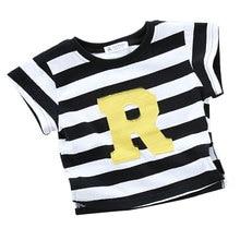 Высококачественная повседневная хлопковая футболка в полоску с вышитым алфавитом для мальчиков и девочек летняя детская одежда с короткими рукавами