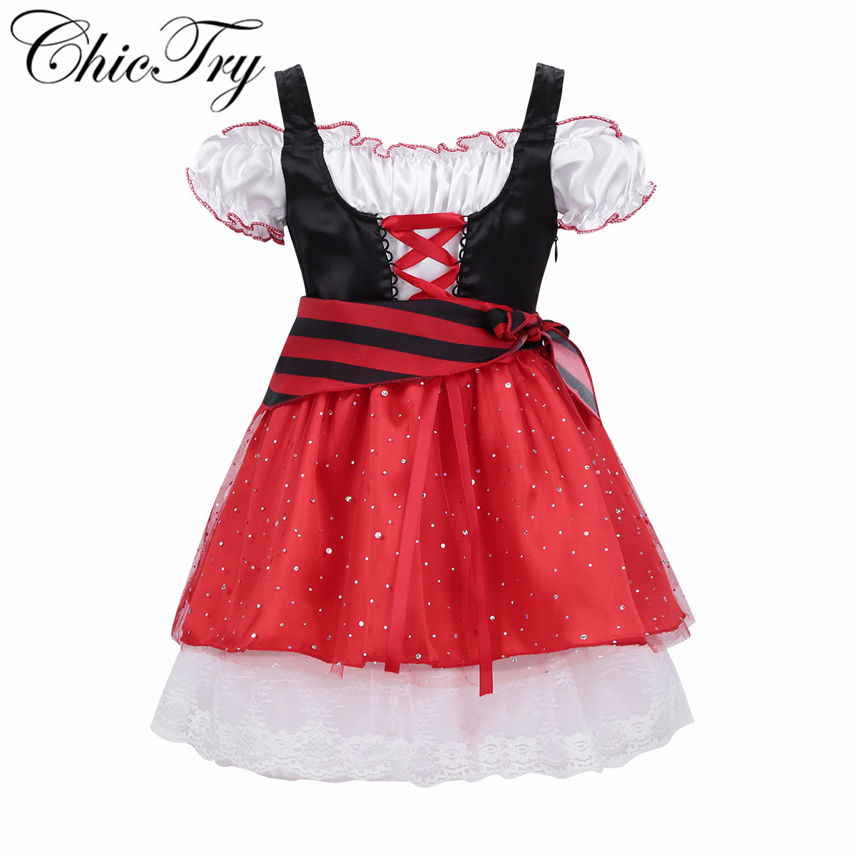 Kids Girls Pirate Costume Dress Glittery Sequins Off Shoulder Elastic Short Sleeves Halloween Cosplay Party Costumes Tutu Dress