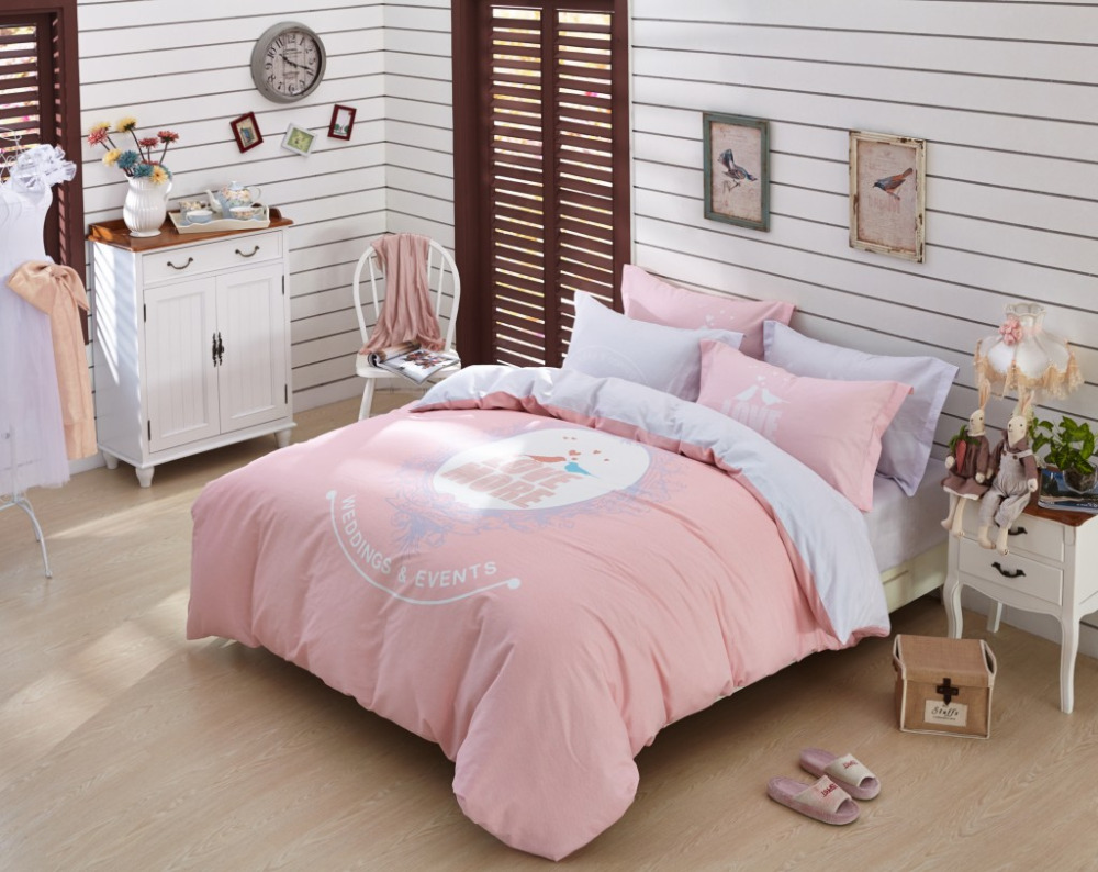 Attractive Love More Comforter Sets Pink And Grey Duvet Cover Luxury Comforter Bedding  Set Girls Bed Linen Patterned Comforter Bedding Sets In Bedding Sets From  Home ...