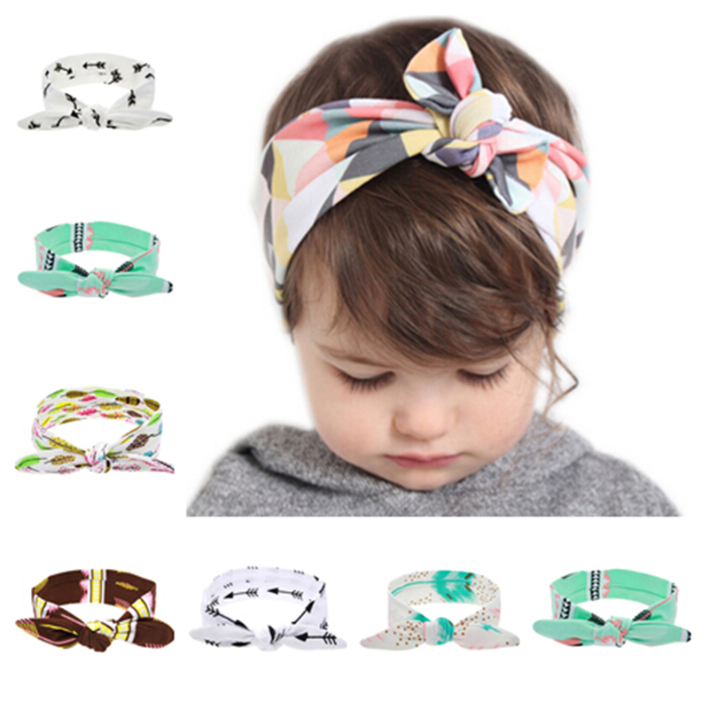 2019 Härligt nyfött pärlband Fashion Bunny Ear Kids Girl Bow Böj elastisk Knot Headbands DIY Bowknot Headwear Hårtillbehör