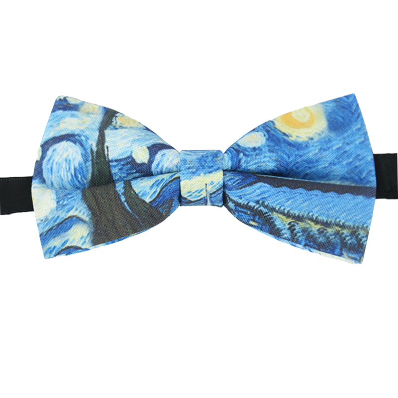 Van Gogh Printing Necktie Bow Tie Fashion Mens Womens Wedding Business The Starry Night Print Bow Tie Trendy Van Gogh Bowtie