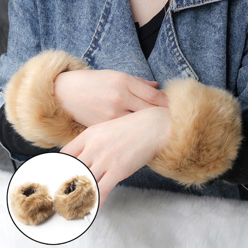 Women's Accessories Clever Thicken Women Winter Warm Wrist Arms Gloves Rabbit Faux Fur Bracelet Cuff Wristband Plush Elastic Oversleeve Arm Warmmer 8c1574 Quality And Quantity Assured Women's Arm Warmers