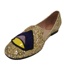 Classical shoppe high quality fashion genuine Leather fashion glitter with low-heeled women's shoes with summer pumps