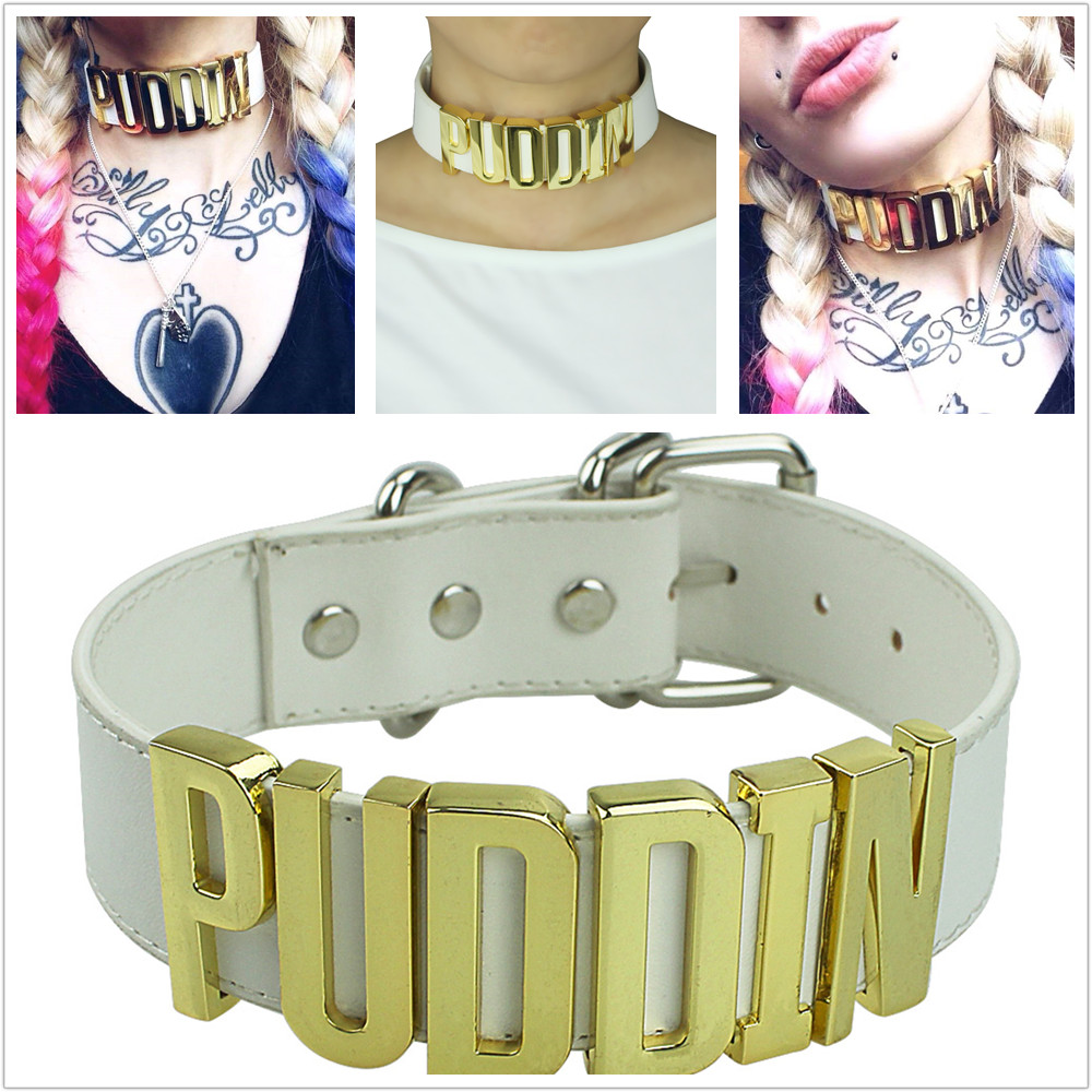 Harley Quinn PUDDIN Choker Suicide Squad Collar Neck Necklace Halloween font b Cosplay b font Choker