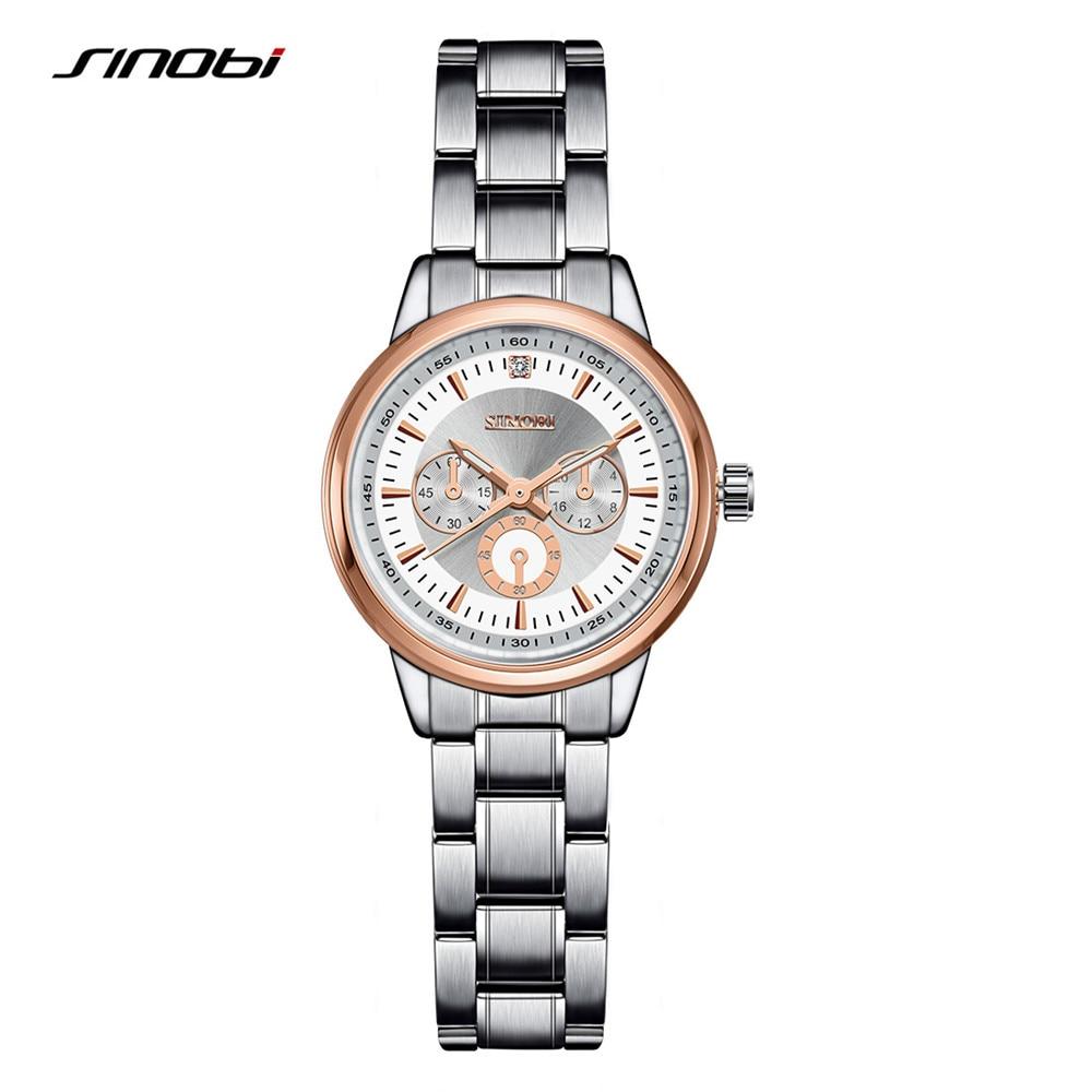 8bbc028983f Moda SINOBI Watchband Senhoras Genebra Relógio de Quartzo de Aço Inoxidável  Relógios de Pulso Das Mulheres