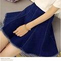 Os Recém-chegados Azul Denim Saias Das Mulheres 2017 Verão Moda Coreano sol Saia de Cintura Alta Calça Jeans A Linha Mini Saia Plissada Jupe Femme