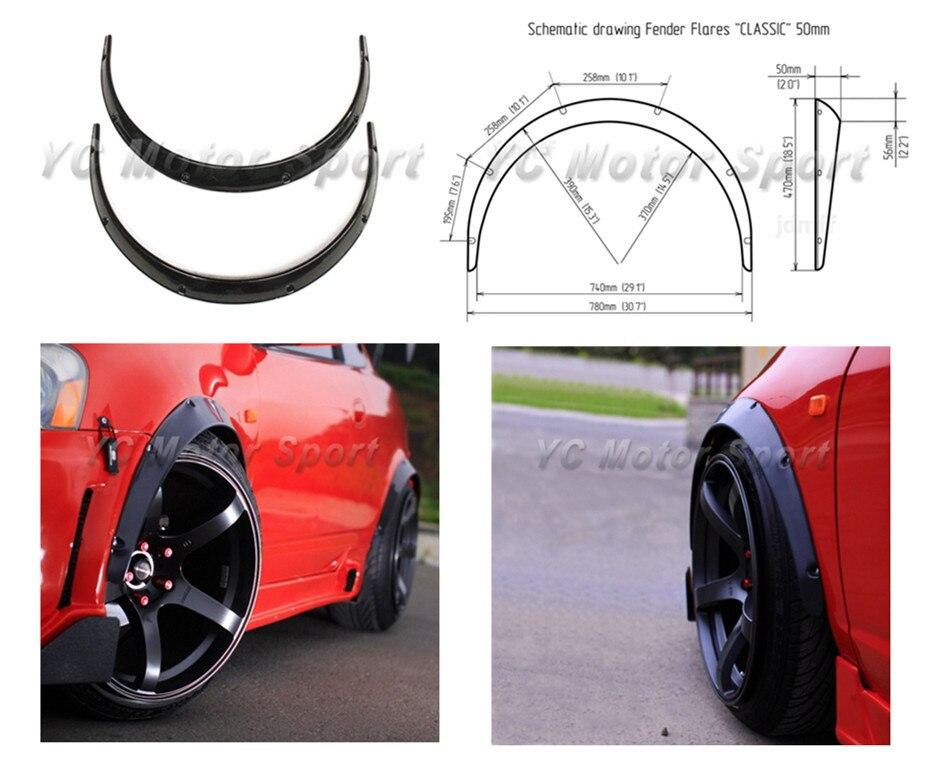 Гибкая ABS Пластик полиуретан черный глянцевый широкий крыло Flare колеса арки 2 дюймов (50 мм) 2 шт. для Универсальный JDM модель