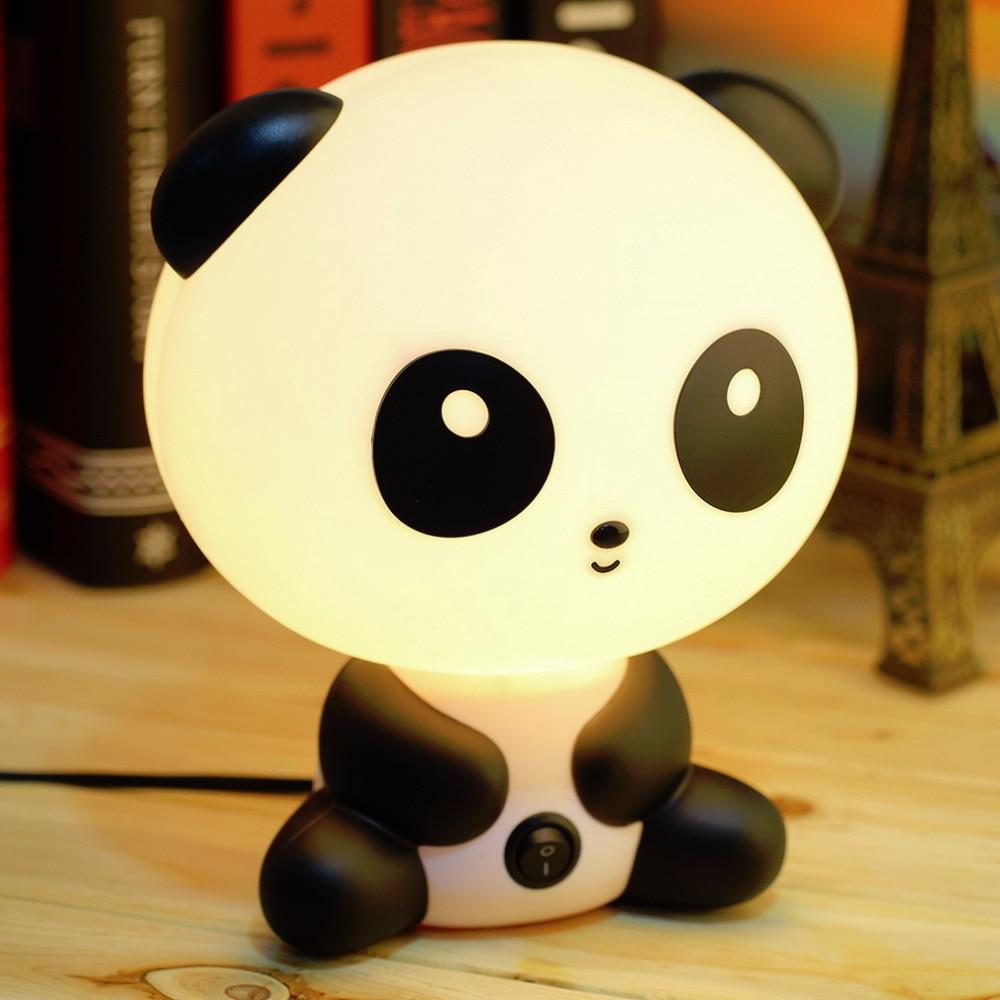 Night lamps india - Wholesale Cute Panda Cartoon Animal Night Light Kids Bed Desk Table Lamp Night Sleeping Led