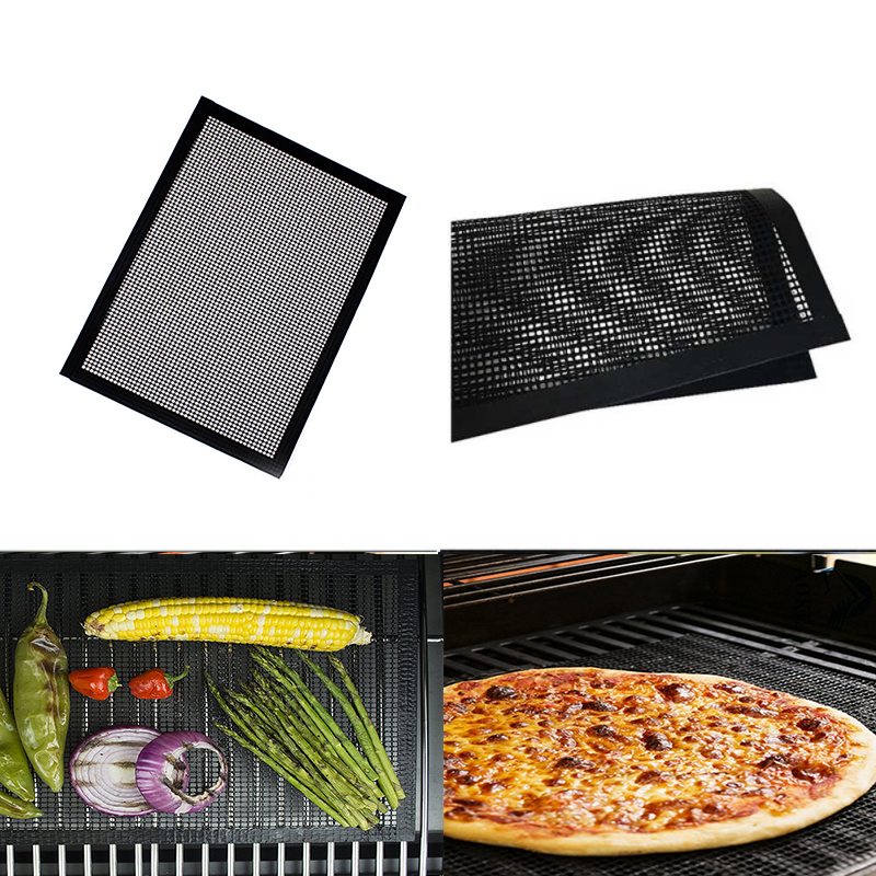 40*30cm Reusable Non-Stick BBQ Grill Mesh Mat Teflon Baking Sheet Portable Outdoor Picnic Cooking Barbecue Tools