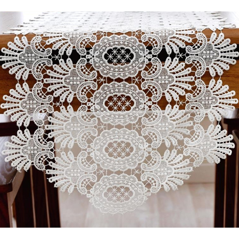 Elegant Tableware For Dining Rooms With Style: Embroidery White Table Runner Elegant Lace Tableware For