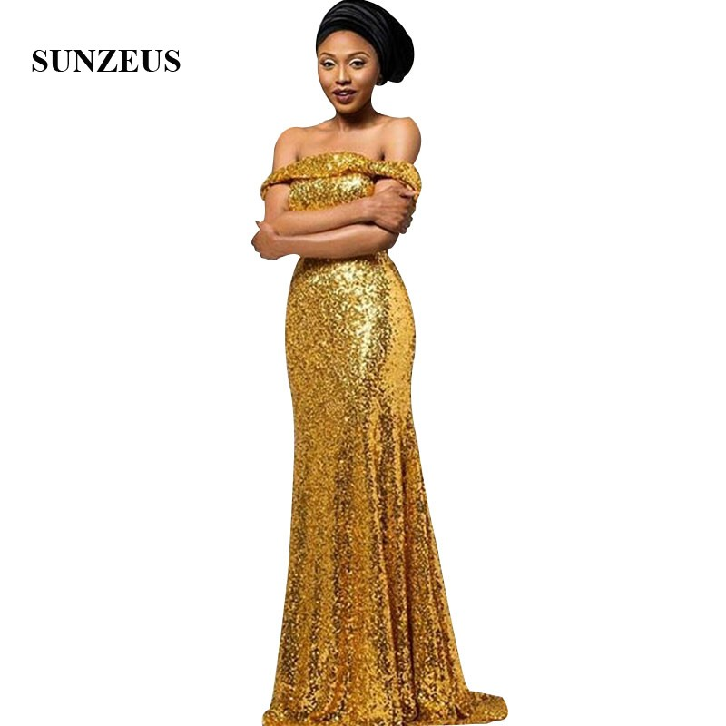 Gold Sequins   Bridesmaid     Dresses   2019 Off Shoulder Boat Neck Long Wedding Party Gowns vestidos de dama de honor