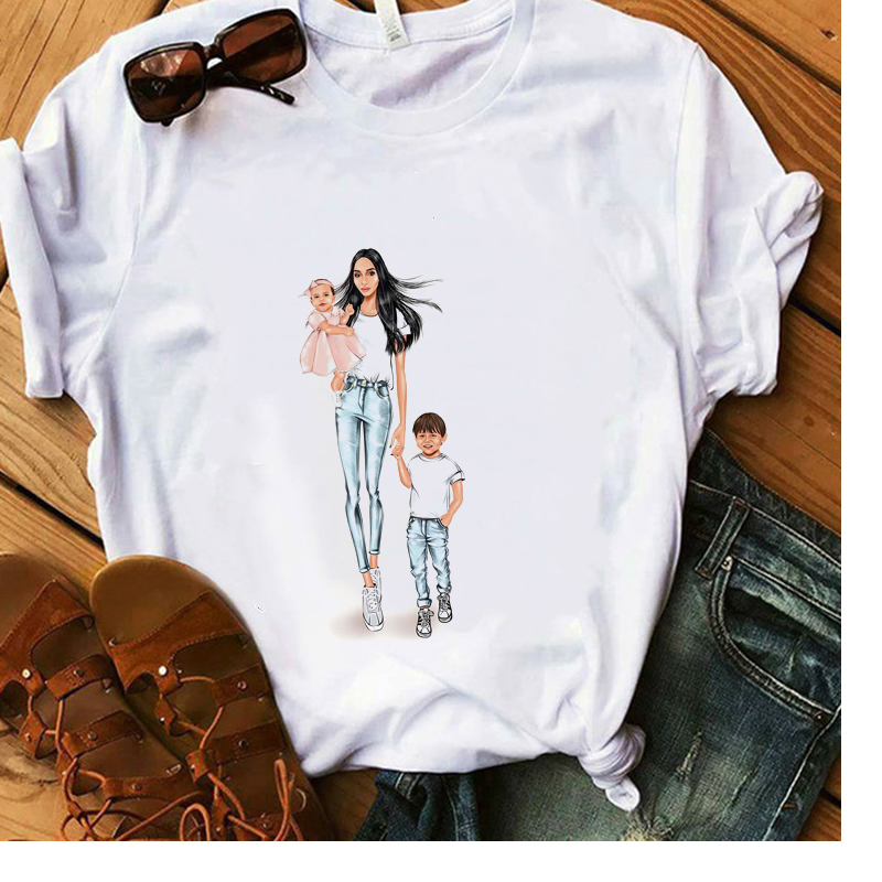 Mama Gift T-Shirt 100% Cotton Vogue Mom Boy Girl White T-Shirt Women Summer Soft Casual Lady Tops Hipster Aesthetic Tees