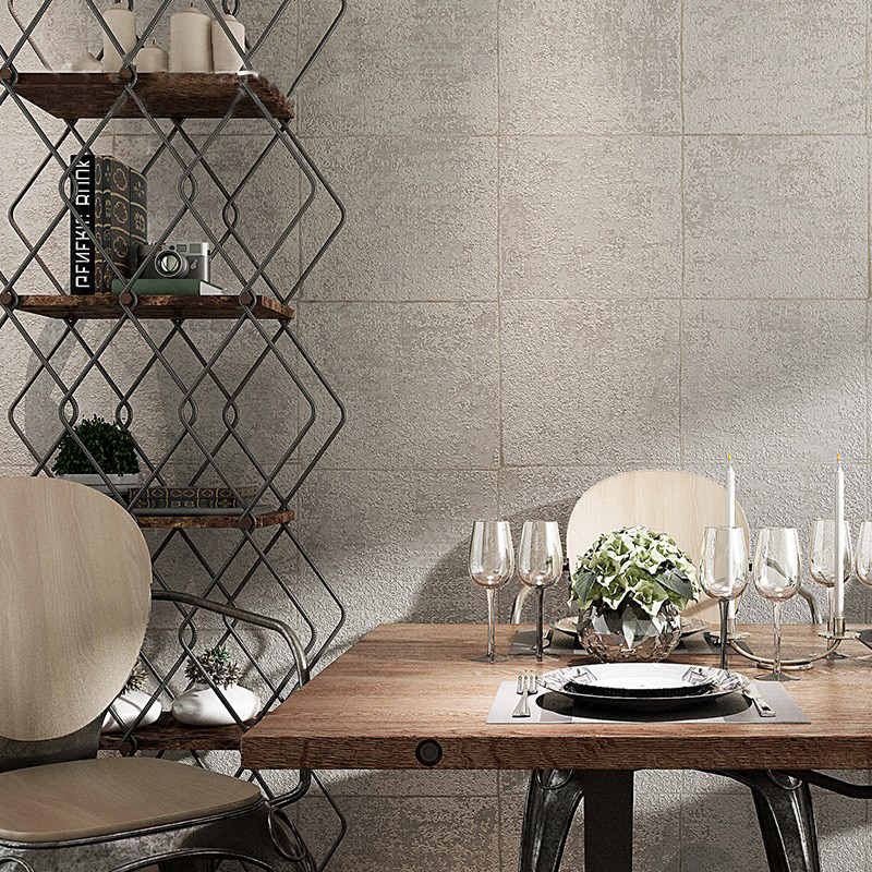 Solid Color Cement Grey Wall paper Non-woven Brick Pattern Lattice Wallpaper For Living Room Bedroom TV Background Wall Covering modern simple non woven black white geometric pattern hexagonal honeycomb wallpaper living room tv sofa background wall covering