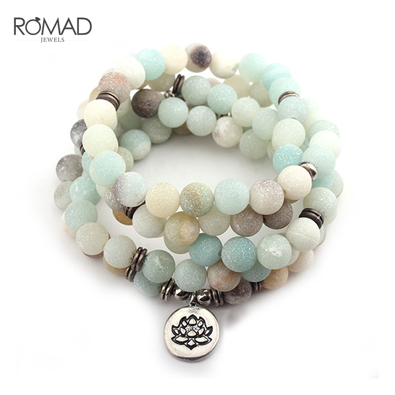 ROMAD Women's bracelet Matte Frosted Amazonite beads with Lo