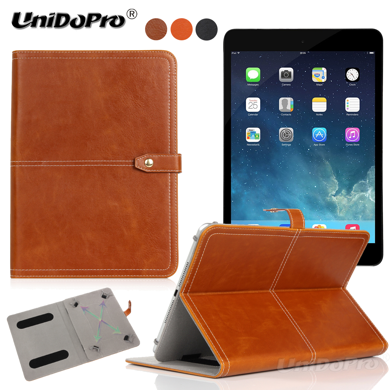 Unidopro Shockproof PU Leather Protective Folio Case for iPad Mini 3 2 A1600 A1219 A1454 A1455 Tablet w/ Multi-angle Stand Cover