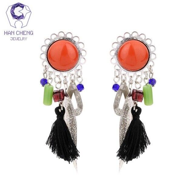 Hancheng New Resin Boho Bohemian Tel Dangle Hanging Long Clip Earrings For Women Jewelry Vintage Silver