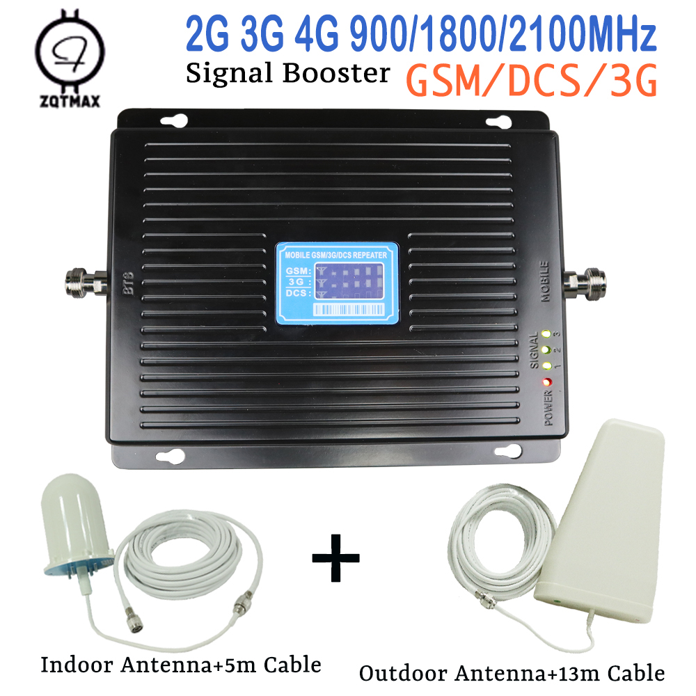 Fullset 2g 3g 4g Lte Repeater 900MHz 2100MHz 1800MHz Tri Band Repeater 75dbi LCD Signal WCDMA DCS Amplifier Booster Antenna Kits