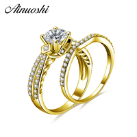 AINUOSHI 14K Solid Yellow Gold Bridal Ring Set 4 Prongs 1ct Round Cut SONA Diamond Engagement Wedding Jewelry Real Gold Ring Set