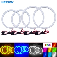 LEEWA 2X106mm 2X126mm Car Auto Halo Rings Cotton Lights SMD LED Angel Eyes for Ford Focus 05+ DRL White/Blue/Yellow/RGB #CA3667