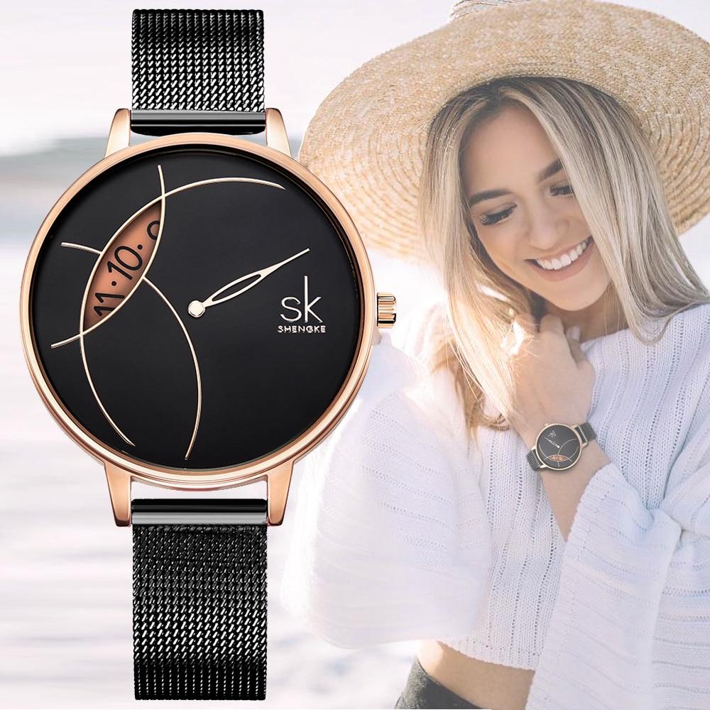 SHENGKE alta calidad mujeres negro impermeable señoras reloj mujeres reloj de cuarzo relojes de las mujeres de moda Dropshipping Relojes