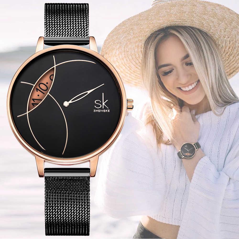 SHENGKE yüksek kalite kadınlar siyah su geçirmez bayanlar izle kadınlar kuvars saat kol saatleri moda kadın Dropshipping saatler
