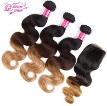 Queen Love Hair Ombre Indian Body Wave Hair Bundles With Closure 1B/4/27 3 Tone Human Hair Extensions 10″-24″ Non Remy Hair