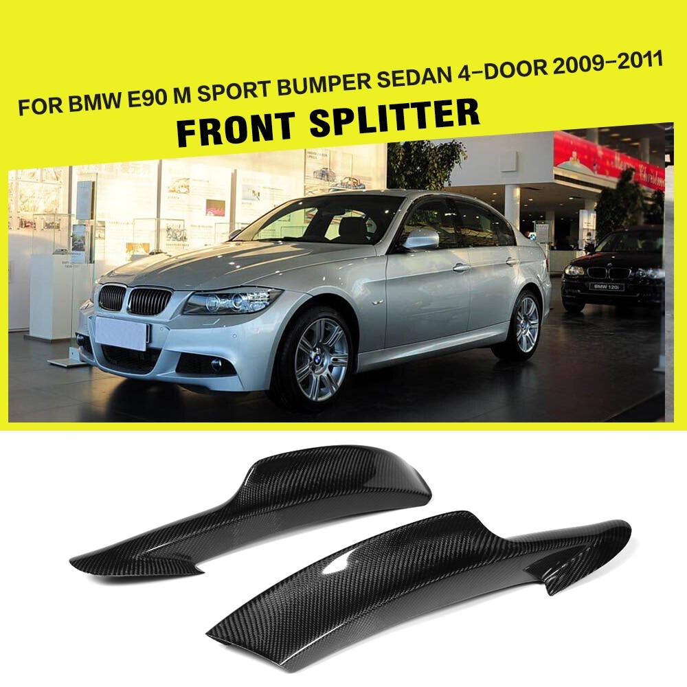 For BMW 3 Series E90 M tech M sport Front Bumper Lip Splitters Flaps Winglets 2006-2008 2009-2011 Car-Styling Carbon Fiber carbon fiber frp unpainted car front bumper lip aprons splitters flaps for bmw 1 series e87 m tech m sport bumper 07 10 2pcs set