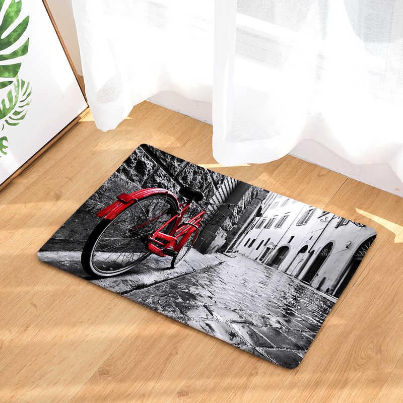 Novo Anti-Slip Tapetes de Chão Do Banheiro Tapetes de Cozinha Tapetes Impressão Bicicleta 40x60or50x80cm