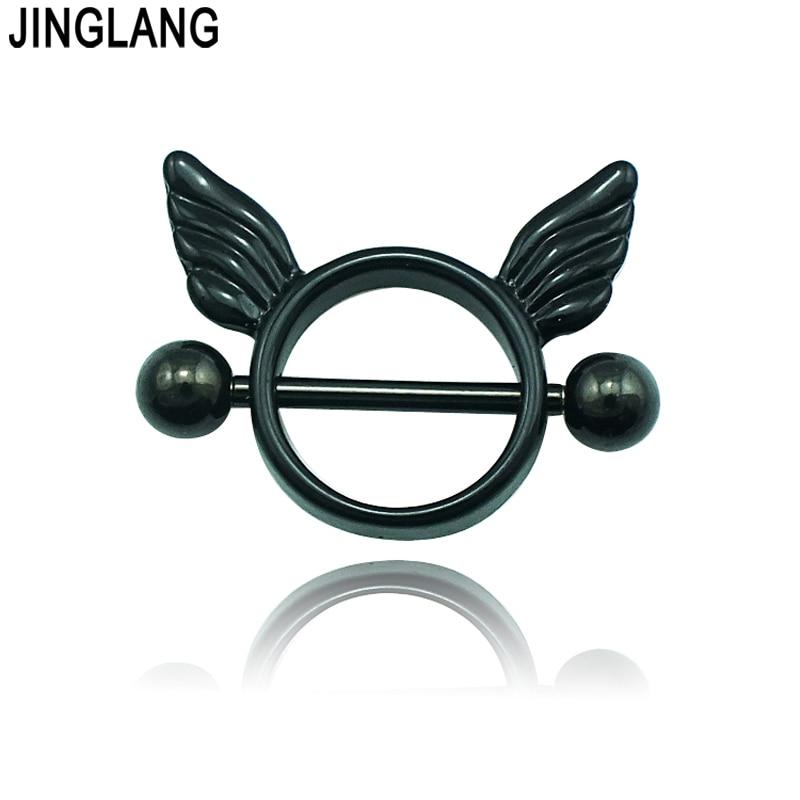 Módní klasické bradavky prsteny 316L z nerezové oceli Angel Wings Body Piercing šperky