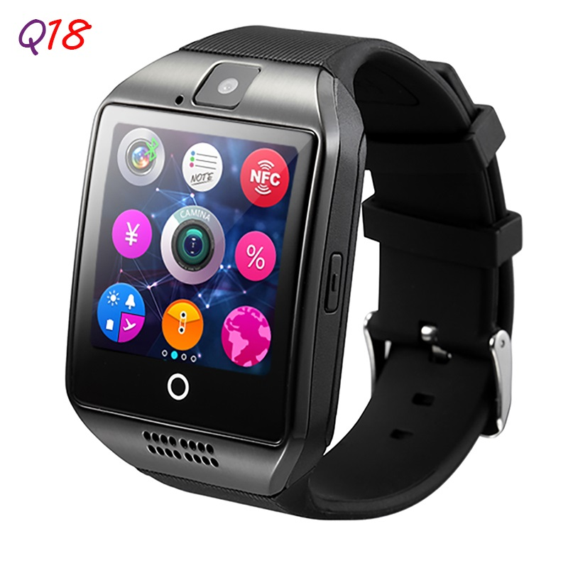 2016 New Smartch Q18 Smartwatch Sim Card Watch Phone for Android Arc Screen Bluetooth Smartwatch Camera