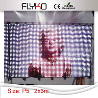 P5 2x3m High quality play sexy movies flexible led video wall ,led video curtain