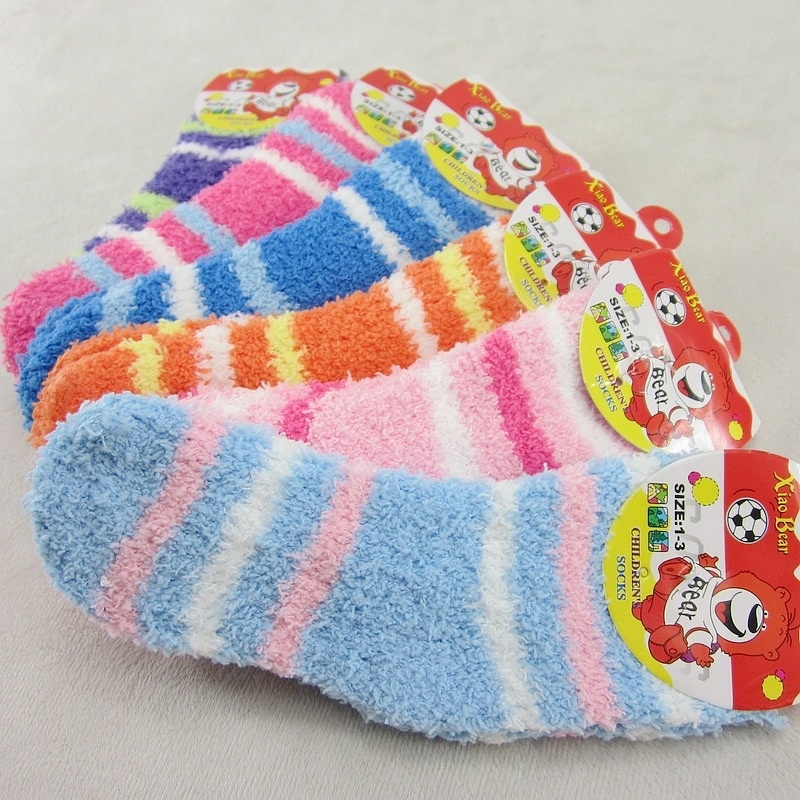 Cheap Price Soft  Children Thickening Cashmere  Winter Warm Breathable Comfortable Skin Soft Patchwork  Stripe  Floor Socks