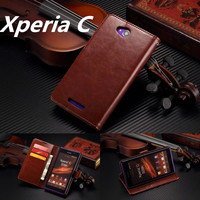 For Xperia C Card Holder Cover Case For Sony Xperia C S39h Leather Phone Case Ultra