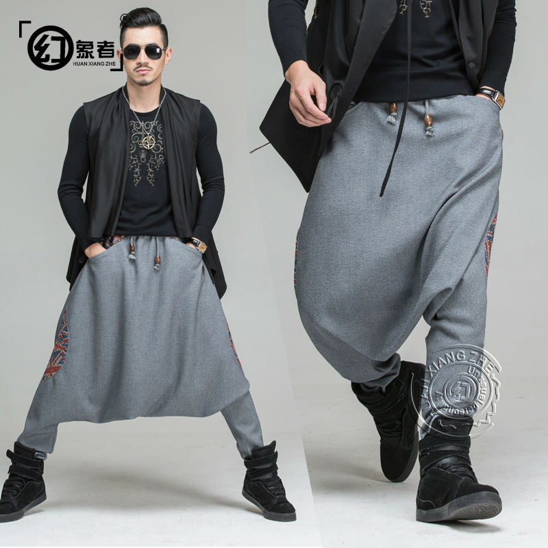 Autumn and winter men's fashion hip hop pants men loose ...