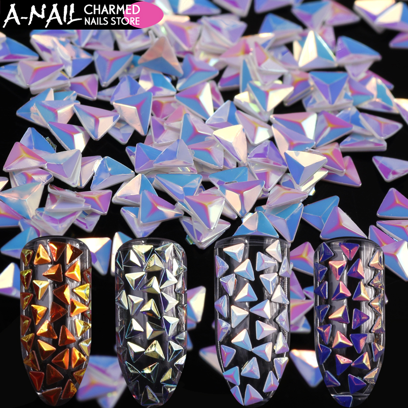 12 jars/set Unicorn AB Color Nail Sequins Chameleon Triangle Iridescent 3D UV Gel Polish For Nails Art Decoration Manicure Tools mixed color chameleon stone nail rhinestone small irregular beads manicure 3d nail art decoration in wheel accessories