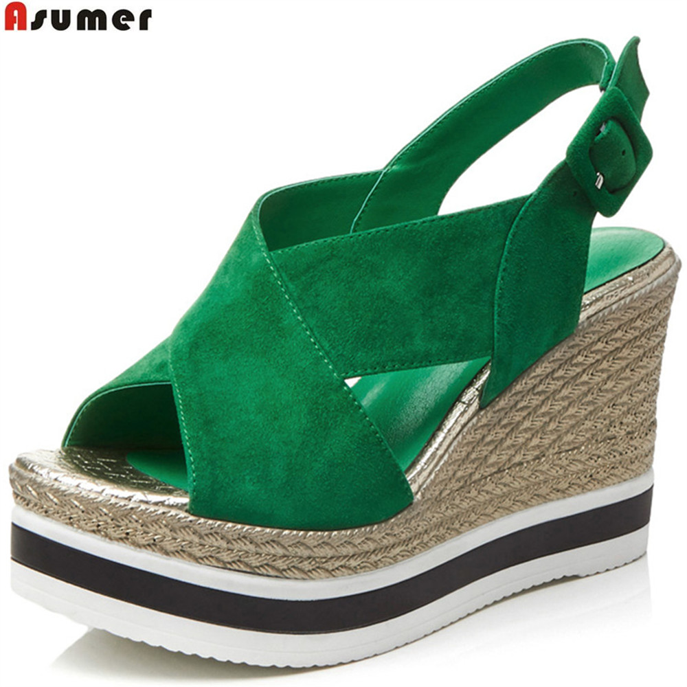 ASUMER black green fashion summer shoes woman buckle platform wedges shoes for woman suede leather high heels sandals phyanic 2017 gladiator sandals gold silver shoes woman summer platform wedges glitters creepers casual women shoes phy3323