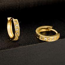 Тонкие серьги кольца желтое золото huggie подарок