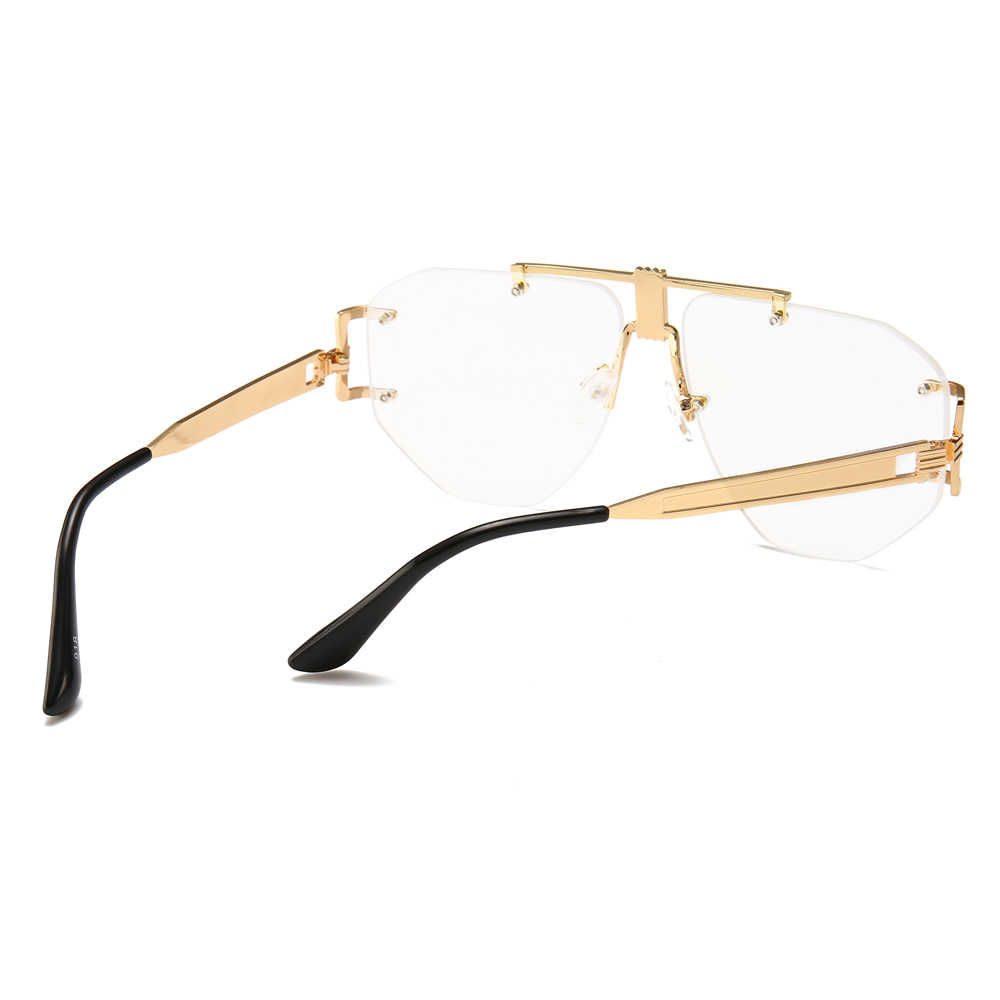 adcf998c5b8e9 ... Peekaboo gold rimless glasses women brand designer clear lens 2019 oversized  eyeglasses frame men retro metal