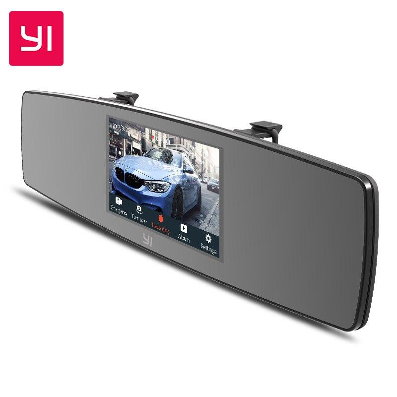 YI зеркало Dash Cam HD фронтальная камера заднего вида двойная приборная панель камера автомобильный рекордер сенсорный экран камера G датчик но...
